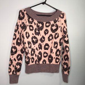 Gap wide neck gray leopard sweater
